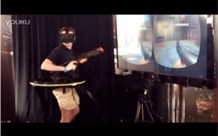Guy using Oculus Rift and Virtuix Omni